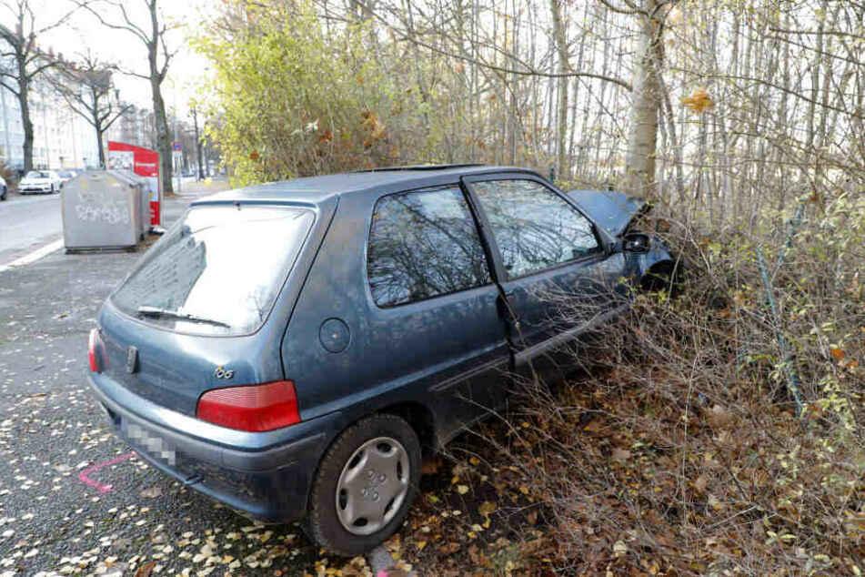 Der Peugeot des damals 18-jährigen Fahranfängers kam im Zaun zum Stehen.