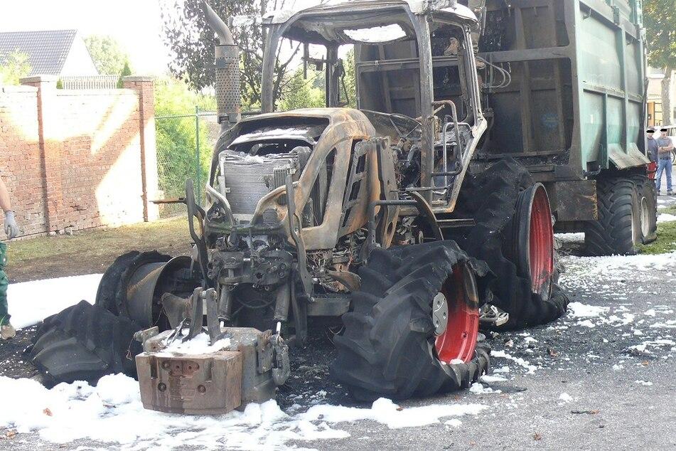 Die Tankfüllung des Traktors versickerte in der Kanalisation.