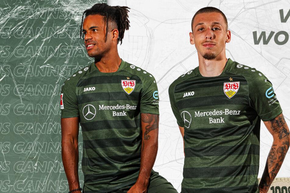 Die VfB-Profis Daniel Didavi (30) und Darko Churlinov (20) präsentieren das neue Trikot des VfB Stuttgart.
