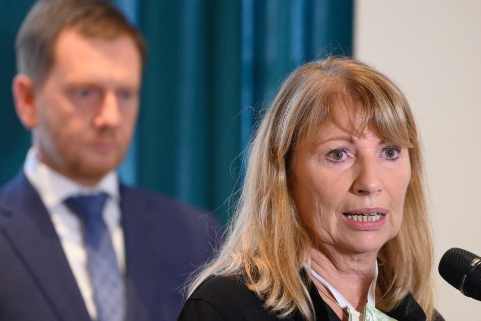 Michael Kretschmer (45 CDU), Ministerpräsident von Sachsen, und Sachsens Sozialministerin, Petra Köpping (62, SPD).
