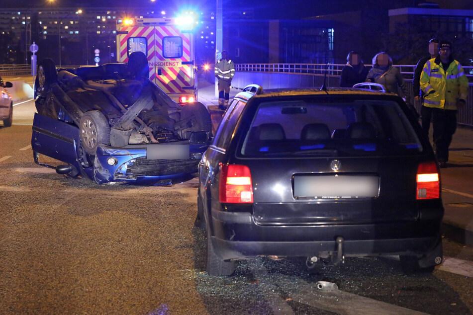 Der Peugeot kollidierte mit dem VW Passat auf der Nossener Brücke.