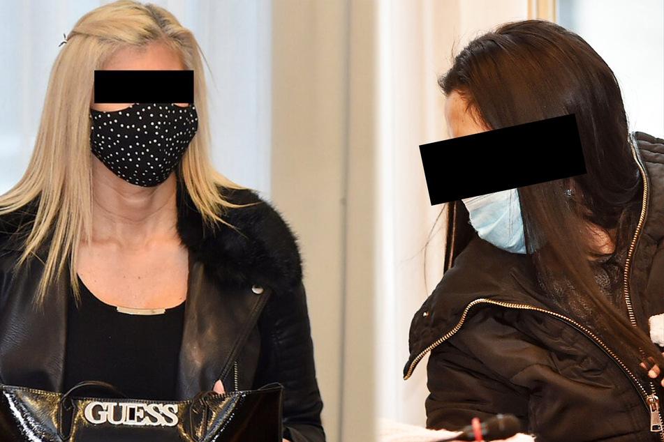 Gabriela P. (l., 42) schweigt bisher zu den Vorwürfen der Anklage. Radka T. (r., 25) soll die Liebesdamen beaufsichtigt haben.