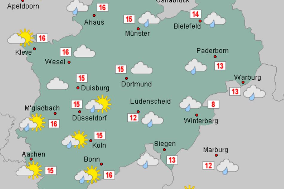Für Nordrhein-Westfalen sind am Mittwoch und Donnerstag Wolken und vereinzelte Schauer gemeldet worden.
