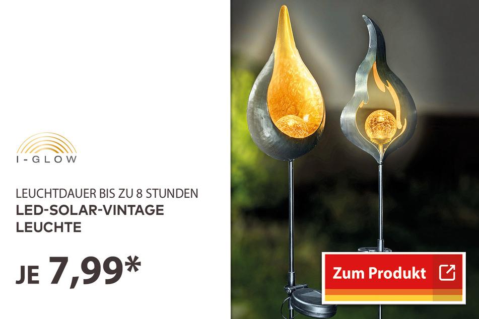 LED-Solar-Vintage Leuchte für 7,99 Euro.