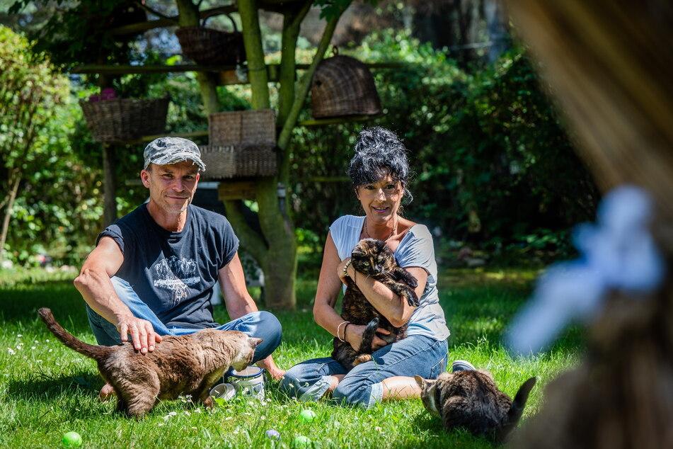 Annette und Tilo Baum pflegen in Halsbrücke alte und kranke Tiere.