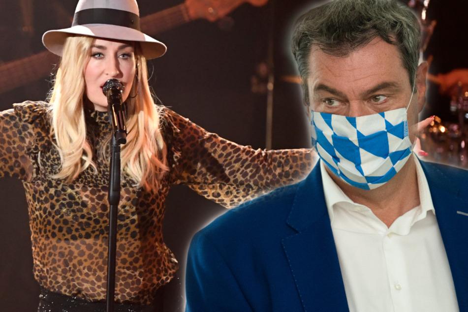 Bayerns Ministerpräsident Markus Söder (53, CSU) hat geplante Großkonzerte wie das von Sarah Connor (40) heftig kritisiert. (Fotomontage)
