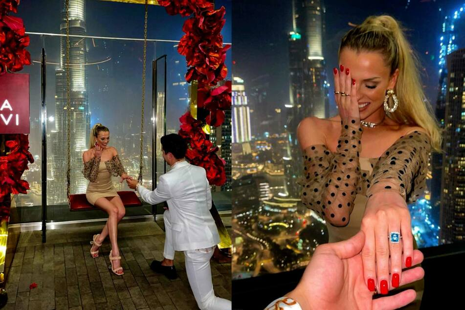 Vor der atemberaubenden Kulisse des Burj al Khalif hielt Alexandru Ionel (26) um die Hand seiner Freundin Patricija Balousova (26) an.
