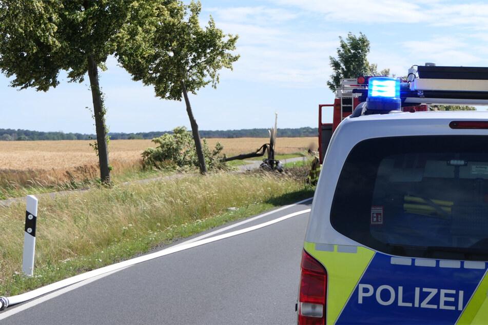 Bei dem schlimmen Unfall ging das Motorrad in Flammen auf und der Fahrer starb noch am Unfallort.