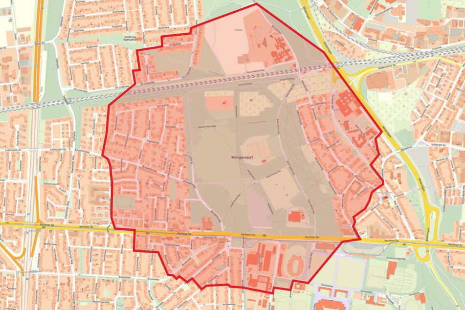 Eine Karte zeigt den Evakuierungsradius um den Fundort der Bombe.
