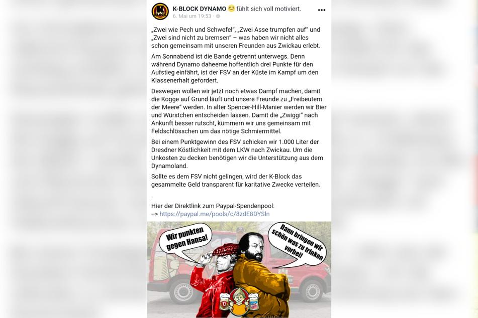 Coole Aktion: Die Dynamo-Fans spendieren dem FSV für den Punktgewinn in Rostock 1000 Liter Bier.