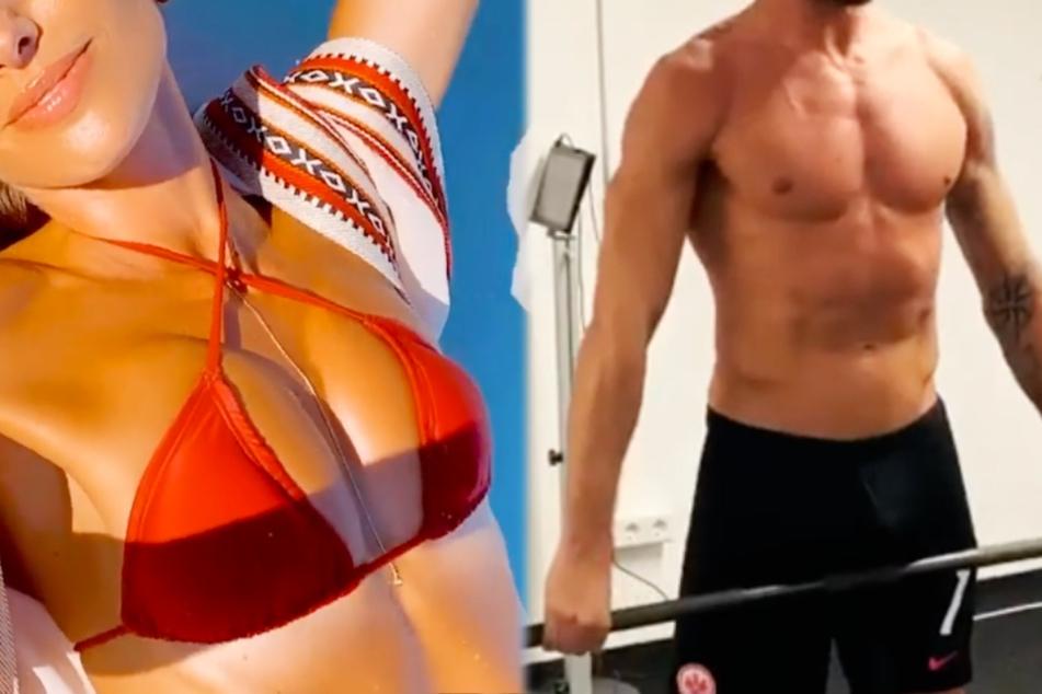 Bundesliga-Fußballer stählt seinen Body und sexy Model findet ihn heiß