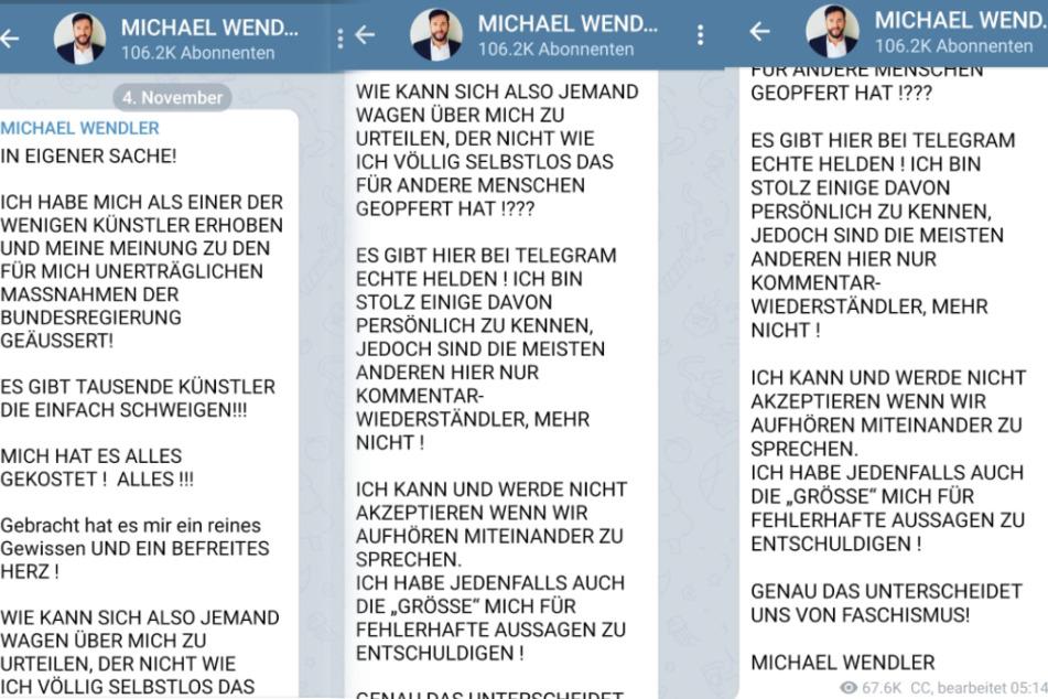 Michael Wendler meldet sich auf Telegram zurück.