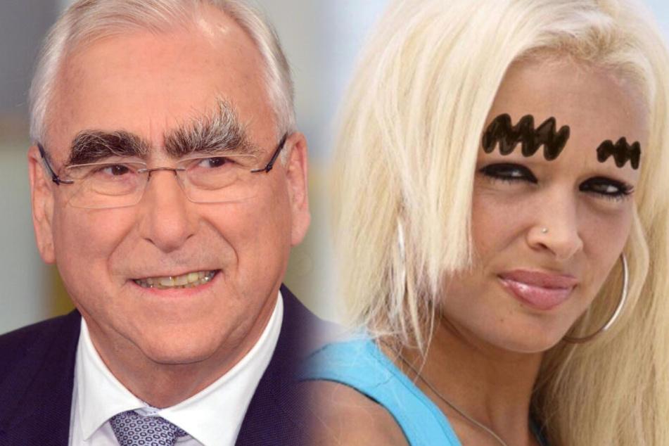 Vorbild Theo Waigel?Daniela verpasste sich riesige Augenbrauen - dem Ex-Bundesfinanzminister dürfte das alle Ehre machen. (Montage)