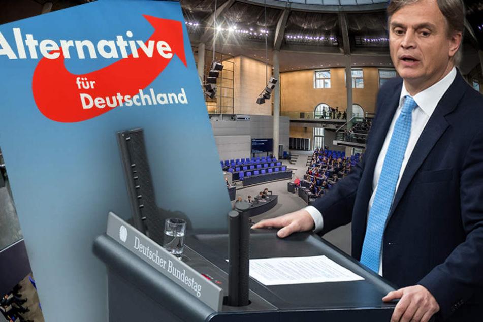 Bernd Baumann (AfD) redet am bei der Plenarsitzung des Deutschen Bundestages in Berlin.