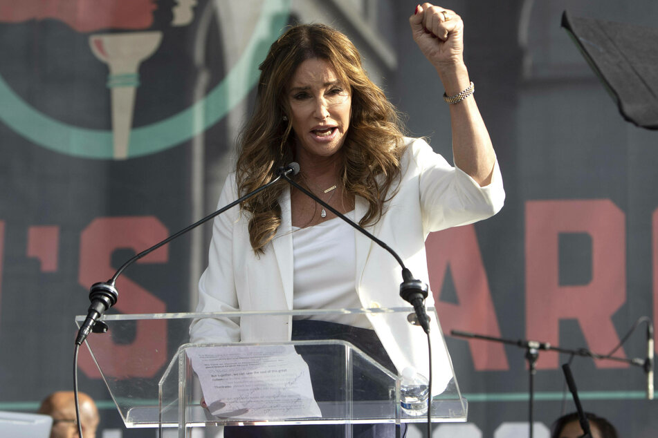 Caitlyn Jenner speaking at the Women's March in downtown Los Angeles, January 2020.