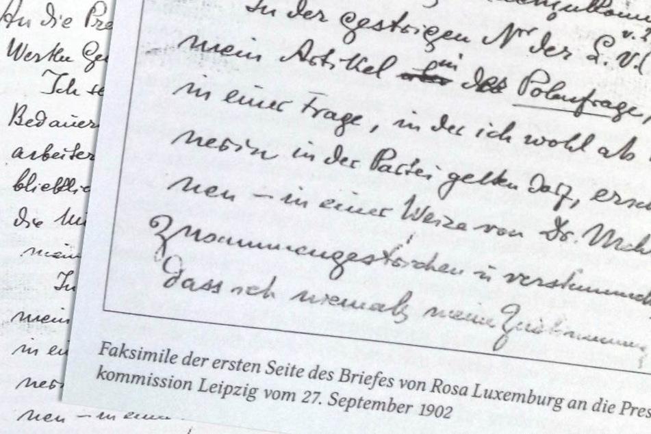 Der Original-Brief der KPD-Gründerin Rosa Luxemburg(†47).