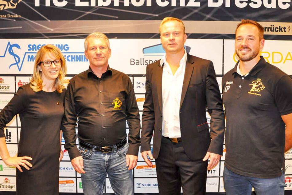 Das Chef-Quartett des HCE (v.l.): Geschäftsführerin Cathleen Rupprecht, Präsident Uwe Saegeling, der künftige Manager Karsten Wöhler und Chefcoach Christian Pöhler.