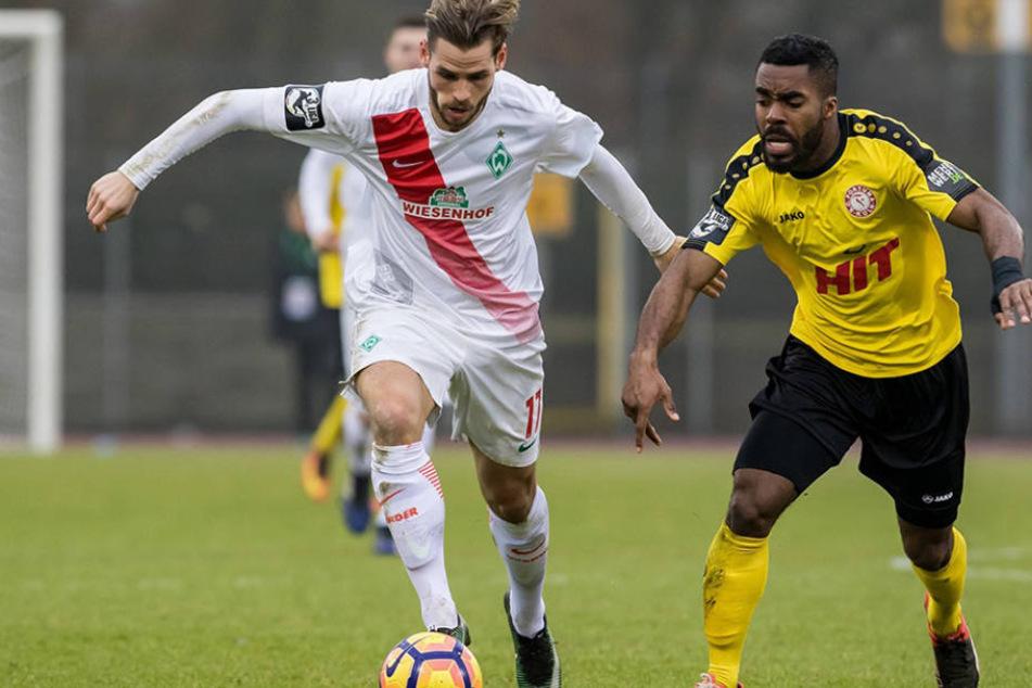 Ex-Dynamo-Torjäger Justin Eilers  war zuletzt für die Werder-Reserve gegen Fortuna Köln am Ball.