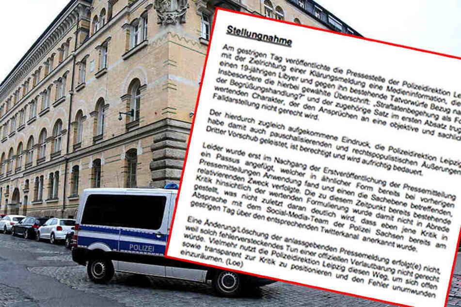 Erst vor etwa drei Wochen wurde die Leipziger Polizei für eine Hetz-Aussage scharf kritisiert.