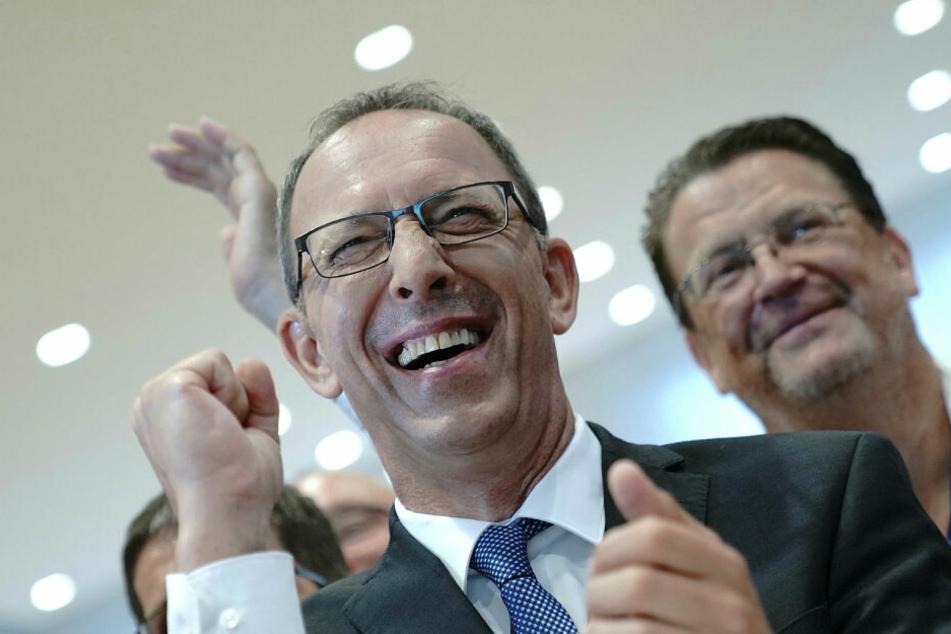 Freute sich über 27,5 Prozent der sachsenweiten Stimmen und Platz 2 hinter der CDU: AfD-Spitzenkandidat Jörg Urban.