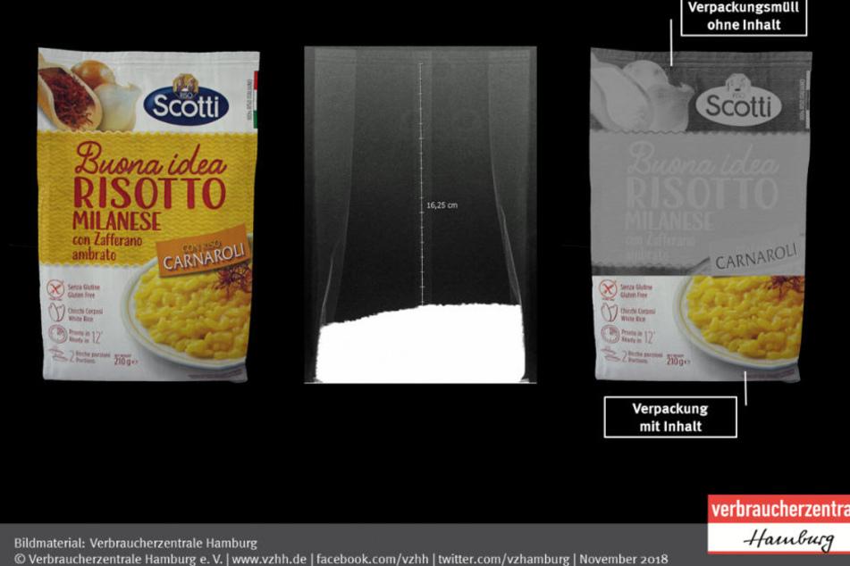 Statt Risotto enthält die Verpackung hauptsächlich Luft.