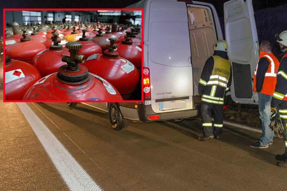 Der VW-Transporter war mit Propangasflaschen überladen (Symbolfotos).