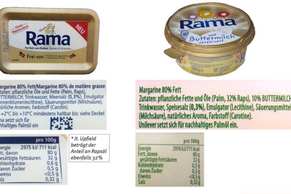"""Die Verbraucherzentrale verglich die Margarine """"Unser Meisterstück"""" mit der Rama mit Buttermilch."""