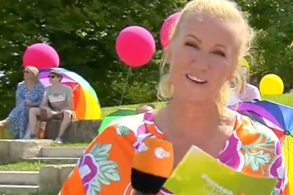 "ZDF-Fernsehgarten-Moderatorin Andrea ""Kiwi"" Kiewel (55)."
