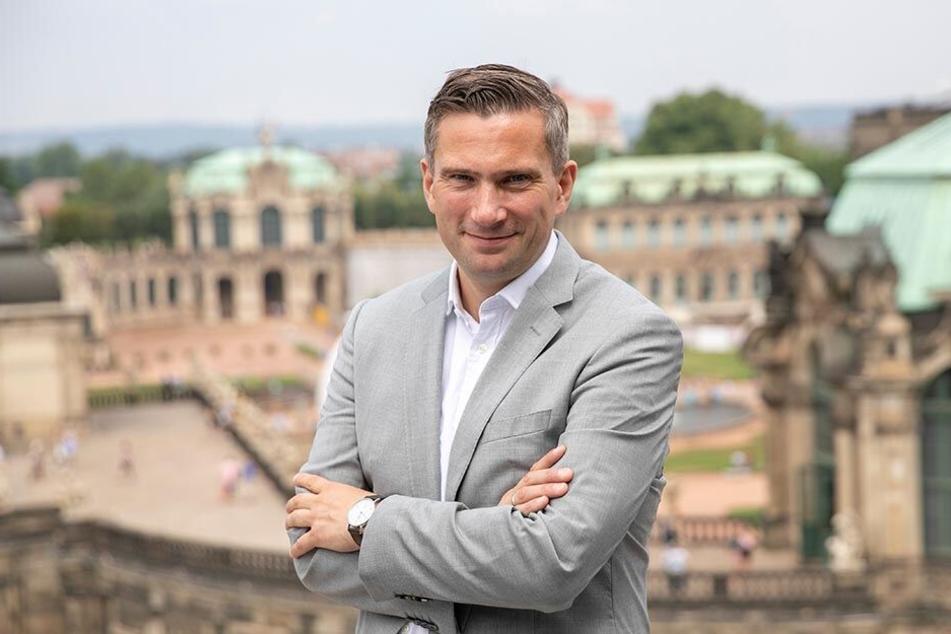 Dulig vorm Zwinger: Der SPD-Mann hat als Wirtschaftsminister weniger die Vergangenheit als vielmehr die Zukunft Sachsens im Blick.