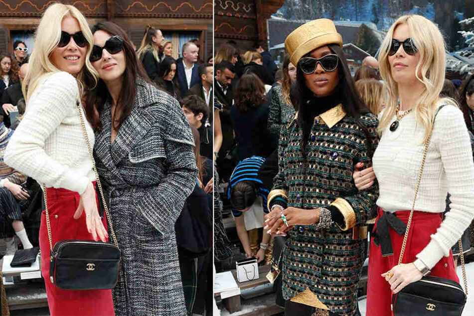 Gäste bei der Paris Fashion Week: Claudia Schiffer (li), Model aus Deutschland, und Monica Bellucci, Schauspielerin aus Italien. Rechts ist Schiffer mit dem britischen Supermodel Naomi Campbell zu sehen.