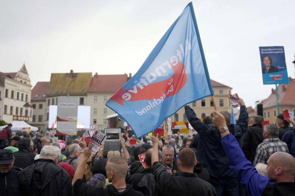 Während Merkels Auftritten protestieren immer wieder Anhänger von AfD und NPD gegen die Kanzlerin, so auch in Torgau.