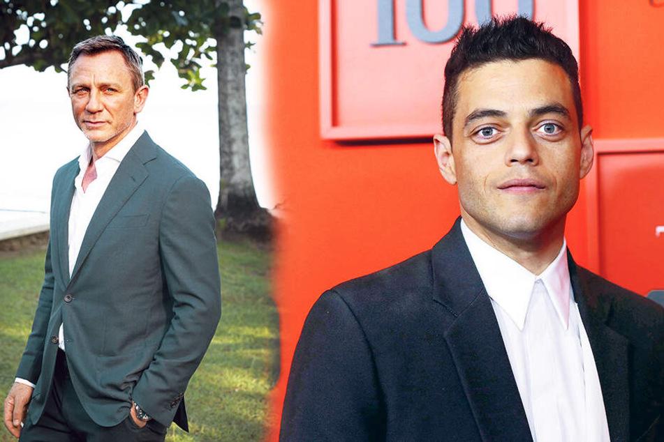 """Rechts: Bösewicht Rami Malek (38) knutschte während der Dreharbeiten zu """"Keine Zeit zu sterben"""" mit Bond-Darsteller Daniel Craig (51)."""