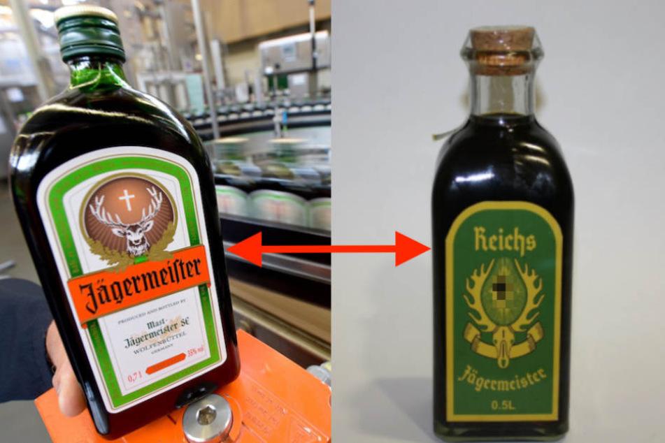 """Der Nazi-Schnaps ist eindeutig vom Original """"Jägermeister"""" abgekupfert. Hakenkreuz von TAG24 unkenntlich gemacht! (Bildmontage)"""