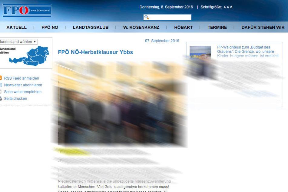 """In der Mitteilung auf der Homepage der FPÖ NÖ heißt es wörtlich: """"Gutmenschen-Abgabe soll Gemeinden entlasten""""."""