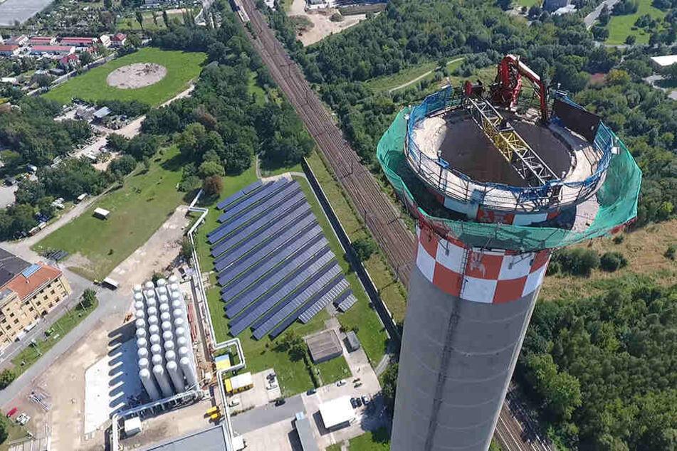 Eine Drohne lieferte diese spektakulären Luftaufnahmen vom Reicker  Schornstein.