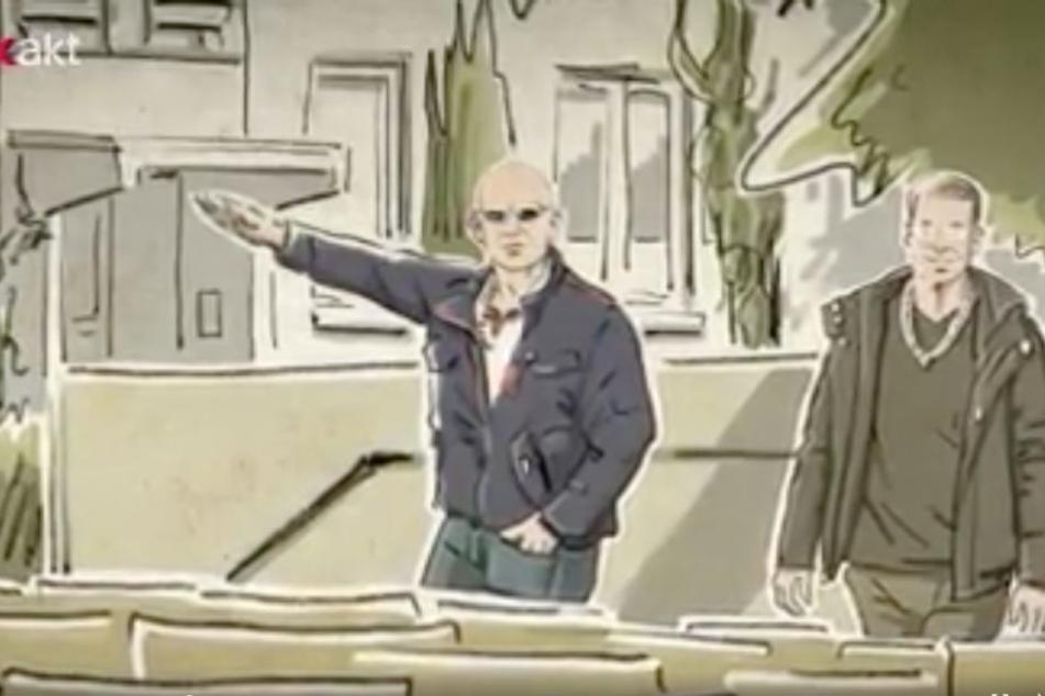 Einer der offensichtlich rechtsradikalen Männer zeigte den Hitlergruß in Richtung Isaacsohn und Kamerateam. Die Geste wurde nicht aufgenommen.