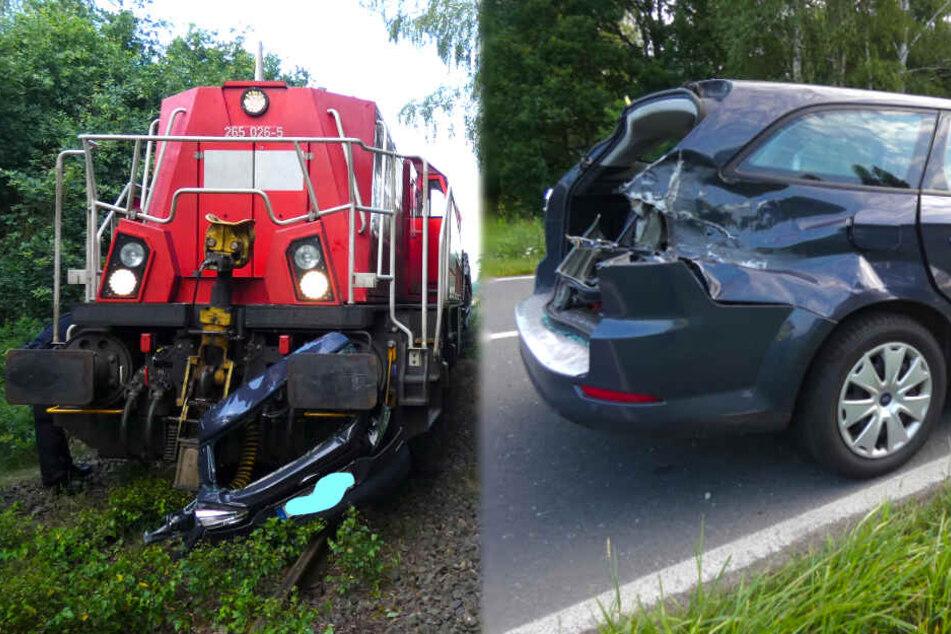 Güterzug mit Panzern rasiert Heckklappe von Auto ab
