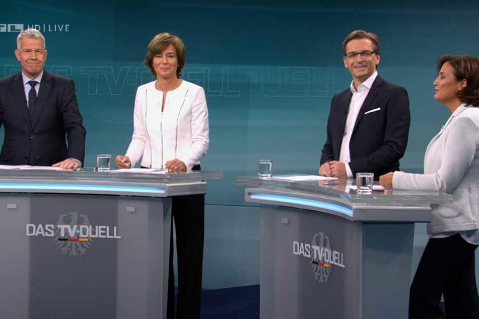 """Die Moderatoren von """"Das TV-Duell: Merkel-Schulz"""": (v.l) Peter Kloeppel (RTL), Maybrit Illner (ZDF), Claus Strunz (SAT.1), Sandra Maischberger (ARD)."""