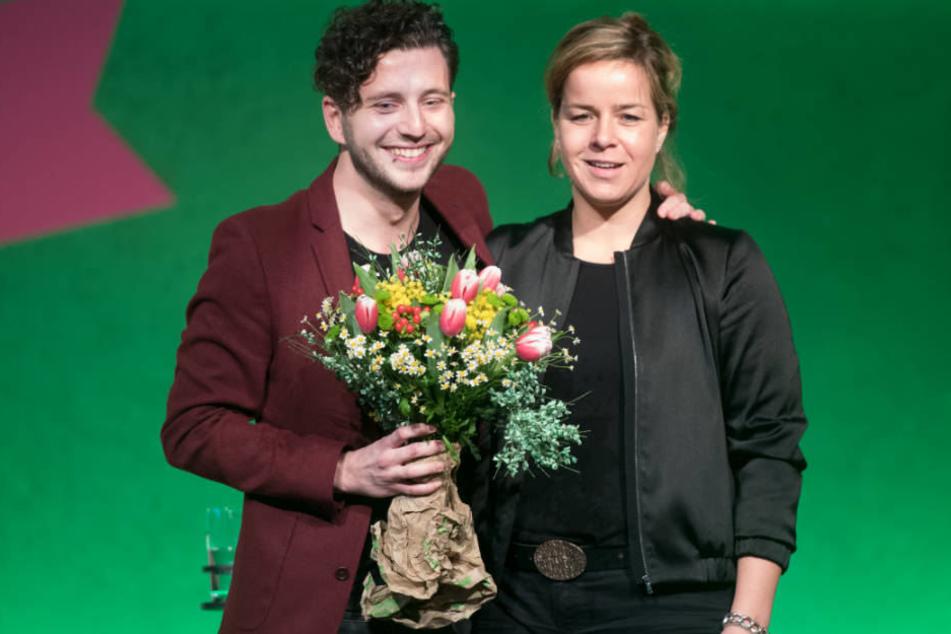 Die Landes-Vorsitzenden der Grünen, Felix Banaszak und Mona Neubaur können sich bei der Mitgliederzahl in NRW über einen Rekordwert freuen.