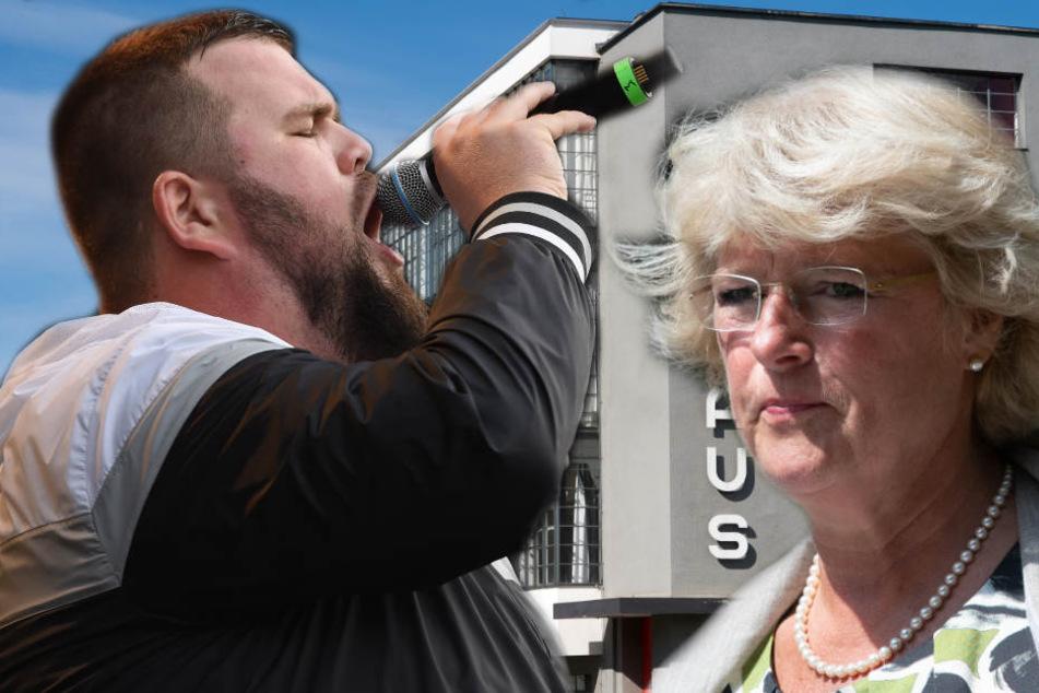 Die Stiftung Bauhaus Dessau will gegen ein Konzert der umstrittenen linken Punkband Feine Sahne Fischfilet (l.) von seinem Hausrecht Gebrauch machen. Kulturstaatsministerin Monika Grütters (r.) warnt vor diesem Schritt.