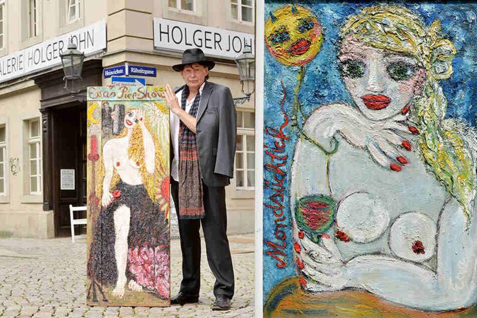 """links: Auf eine alte Holztür malte Eva-Maria Hagen ihr Bild """"Evas Piep-Show"""", welches Holger John (58) stolz vor seiner Galerie zeigt. / rechts: 1991 malte Eva-Maria Hagen (83) das (Selbst)Bildnis einer Weintrinkerin mit Mond."""