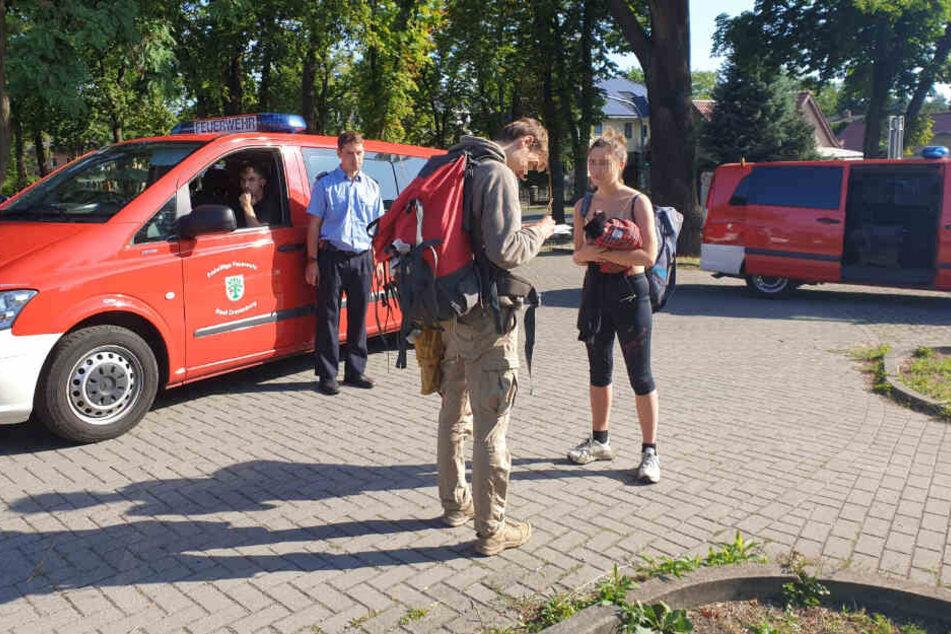 Das französische Touristen-Paar wartete am S-Bahnhof Lehnitz.