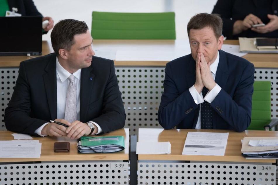 Martin Dulig (links) und Michael Kretschmer gerieten ins Visier von FDP-Chef Holger Zastrow.