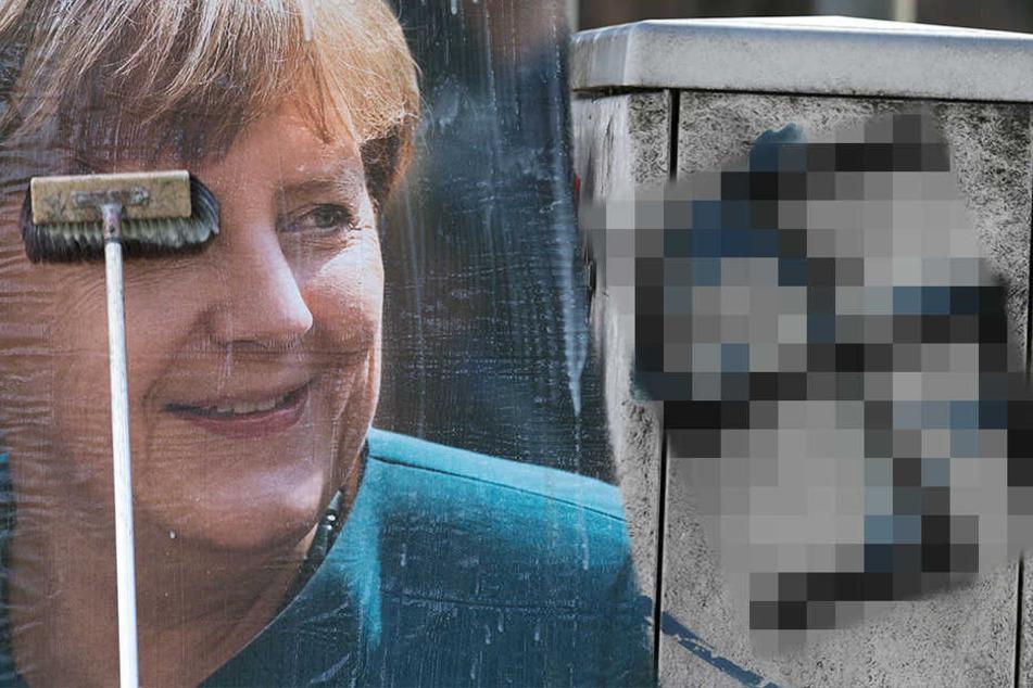 Unbekannte haben in Mutzschen mehrere Strom- und Briefkästen sowie ein CDU-Wahlplakat mit Hakenkreuzen besprüht. (Symbolbild)
