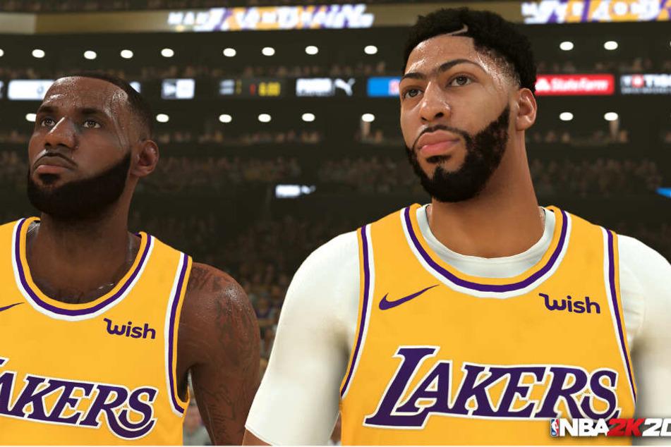 Zwei Superstars der Los Angeles Lakers nebeneinander: LeBron James (links) neben dem Cover-Athlet von NBA 2K20, Anthony Davis.