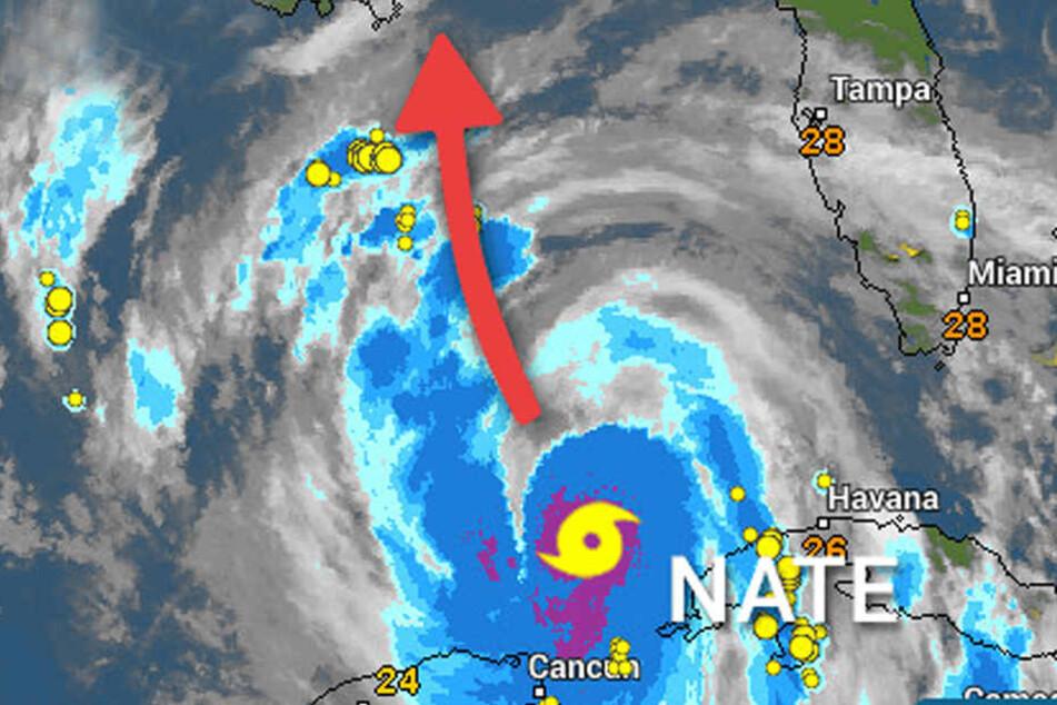 Bei wetteronline sieht man, wie Nate Kurs auf die US-Golfküste nimmt.