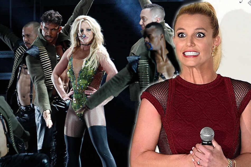 Britney Spears: Busenblitzer bei Britney Spears: Da war der Glitzerbody wohl etwas zu klein