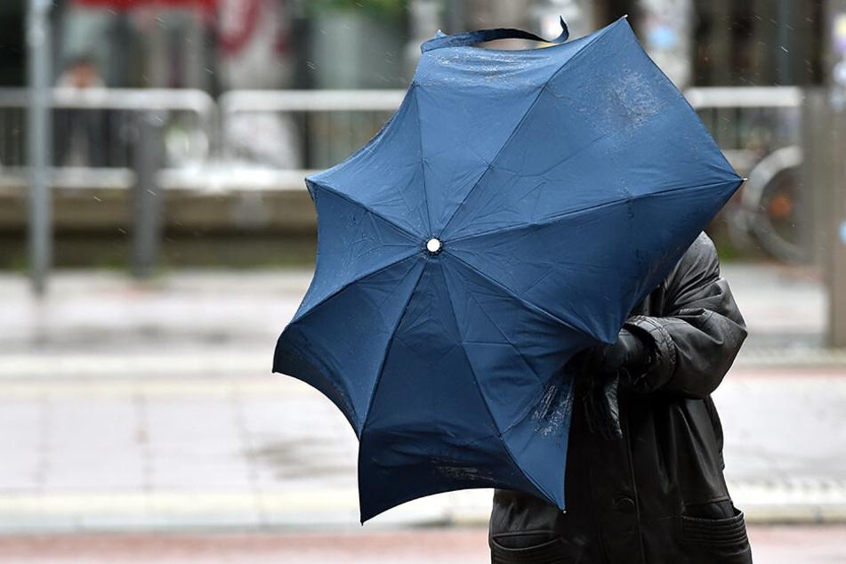 Eine Frau hält ihrem Schirm fest, damit er nicht wegfliegt: Nach Sturmtief Dragi fegt nun Sturmtief Eberhard über das Land.