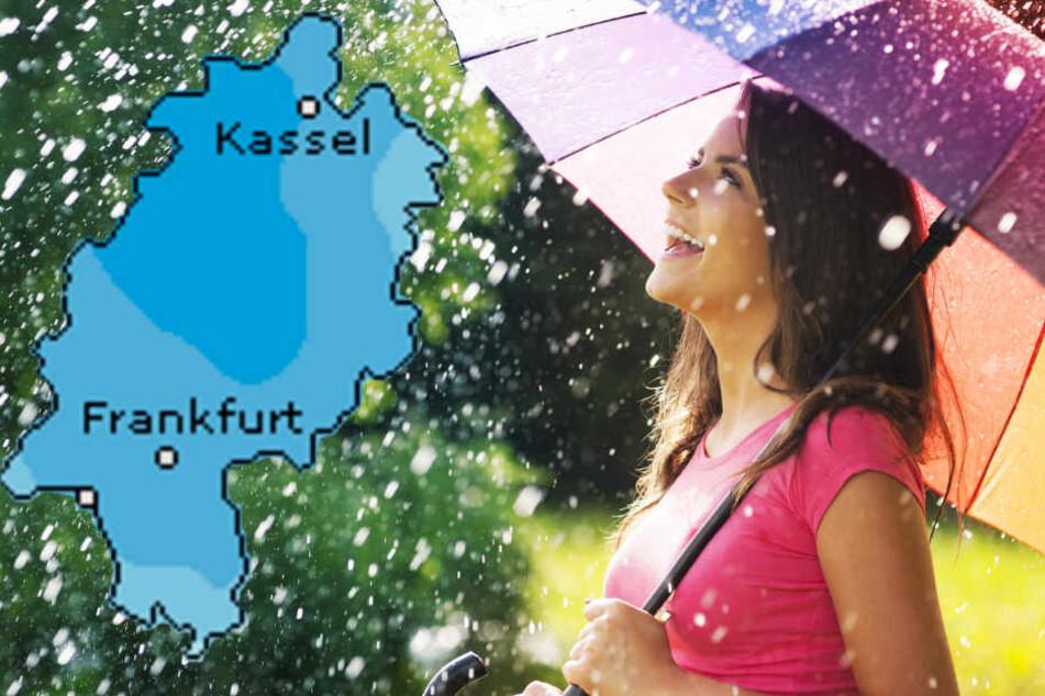 Eine hohe Wahrscheinlichkeit für Regen in Hessen sagt auch der Dienst Wetteronline.de voraus (Grafik).