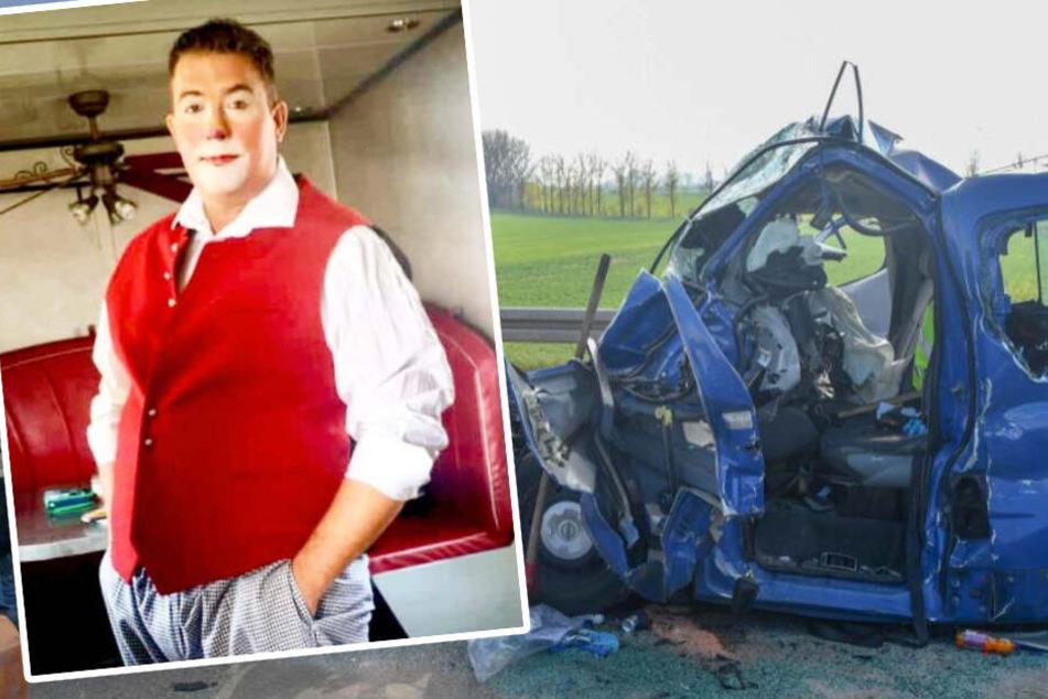 Zirkus-Clown und Musiker Robert Hein wurde am Mittwoch bei einem Autounfall schwer verletzt. Kaum zu glauben: Aus diesem Wrack konnten ihn die Rettungskräfte befreien.